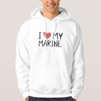 J'aime ma marine veste à capuche