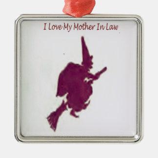 J'aime ma mère dans law1 ornement carré argenté
