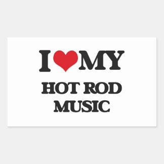 J'aime ma MUSIQUE de HOT ROD Stickers En Rectangle