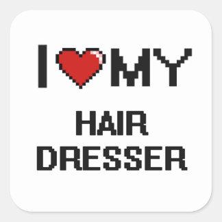J'aime ma raboteuse de cheveux sticker carré