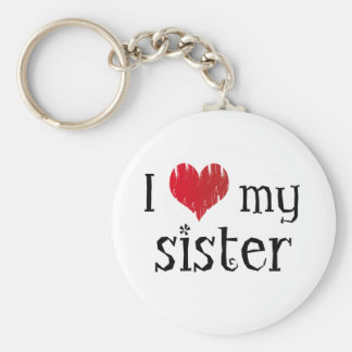 J'aime ma soeur porte-clé rond
