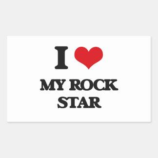 J'aime ma vedette du rock stickers en rectangle
