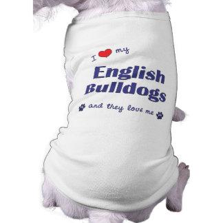 J'aime mes bouledogues anglais (les chiens multipl t-shirts pour toutous