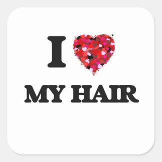 J'aime mes cheveux sticker carré