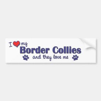 J'aime mes colleys de frontière (les chiens multip autocollant de voiture