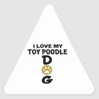 J'aime mes conceptions de chien de caniche de sticker triangulaire