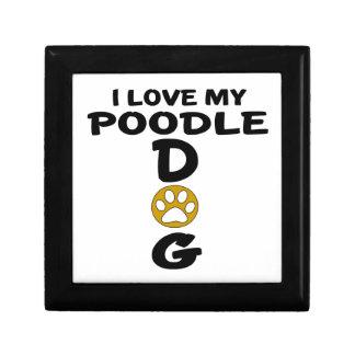 J'aime mes conceptions de chien de caniche petite boîte à bijoux carrée