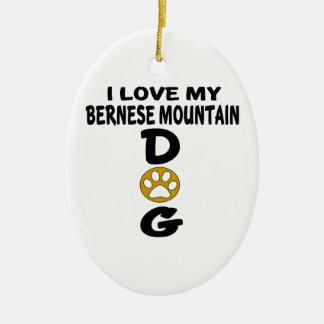 J'aime mes conceptions de chien de chien de ornement ovale en céramique
