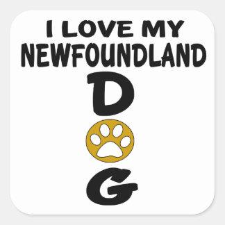 J'aime mes conceptions de chien de Terre-Neuve Sticker Carré