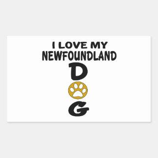 J'aime mes conceptions de chien de Terre-Neuve Sticker Rectangulaire