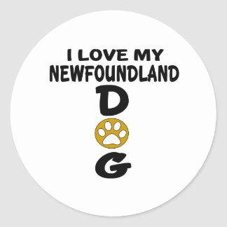 J'aime mes conceptions de chien de Terre-Neuve Sticker Rond