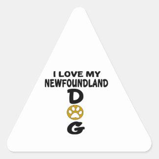 J'aime mes conceptions de chien de Terre-Neuve Sticker Triangulaire