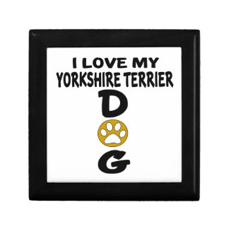 J'aime mes conceptions de chien de Yorkshire Petite Boîte À Bijoux Carrée