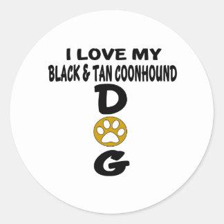 J'aime mes conceptions noires et bronzages de sticker rond