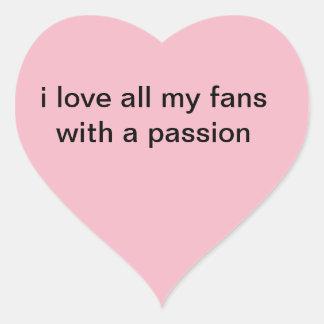 j'aime mes fans sticker cœur