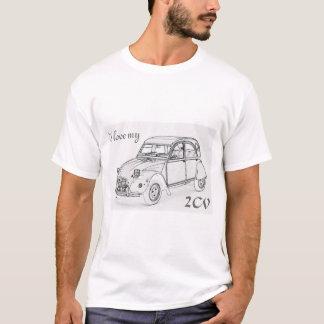 """""""J'aime mon 2-CV"""". Croquis de Citroen 2-CV sur le T-shirt"""