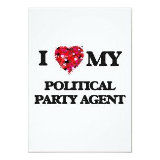 J'aime mon agent de parti politique carton d'invitation  12,7 cm x 17,78 cm