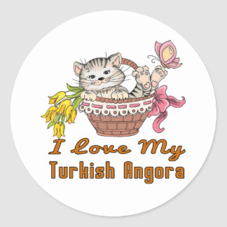 J'aime mon angora turc sticker rond