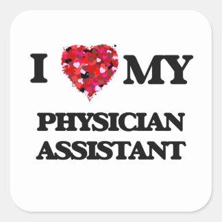 J'aime mon assistant de médecin sticker carré