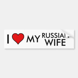 J'aime mon autocollant russe de Bumber d'épouse Autocollant De Voiture