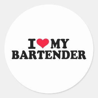 J'aime mon barman sticker rond