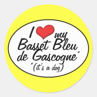 J'aime mon Basset Bleu de Gascogne (c'est un Sticker Rond
