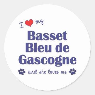 J'aime mon Basset Bleu de Gascogne (le chien Adhésifs Ronds