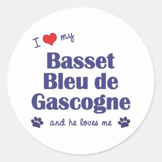 J'aime mon Basset Bleu de Gascogne (le chien Autocollants Ronds