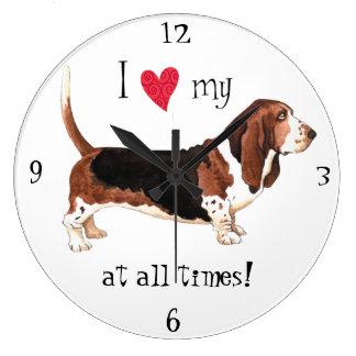 J'aime mon Basset Hound Grande Horloge Ronde