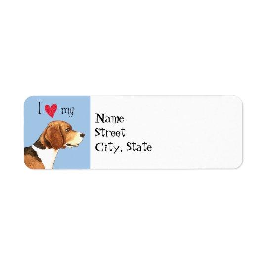 J'aime mon beagle étiquette d'adresse retour