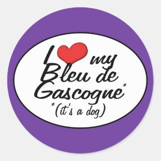J'aime mon Bleu de Gascogne (c'est un chien) Autocollant Rond