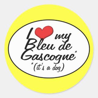 J'aime mon Bleu de Gascogne (c'est un chien) Sticker Rond