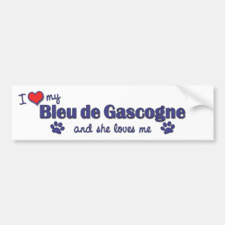 J'aime mon Bleu de Gascogne (le chien femelle) Autocollant De Voiture