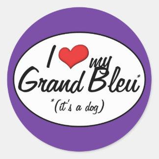 J'aime mon Bleu grand (c'est un chien) Sticker Rond