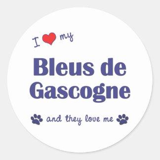J'aime mon Bleus de Gascogne (les chiens Autocollant Rond