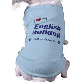 J'aime mon bouledogue anglais (le chien masculin) t-shirt pour chien