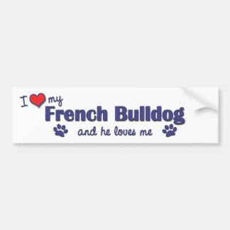 J'aime mon bouledogue français (le chien masculin) autocollant de voiture