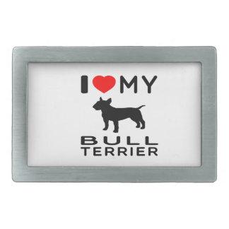 J'aime mon bull-terrier boucles de ceinture rectangulaires