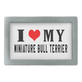 J'aime mon bull-terrier miniature boucle de ceinture rectangulaire