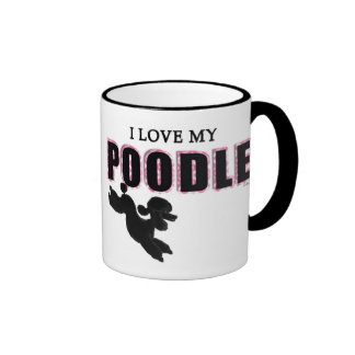 J'aime mon caniche noir mug ringer