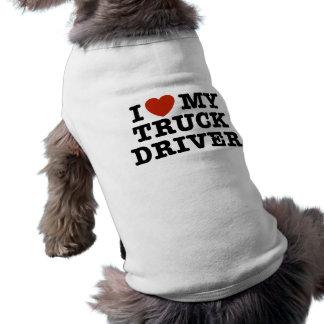 J'aime mon chauffeur de camion t-shirt pour chien
