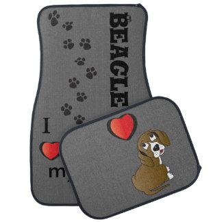 J'aime mon chien de beagle tapis de voiture