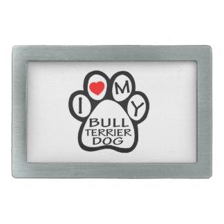 J'aime mon chien de bull-terrier boucles de ceinture rectangulaires