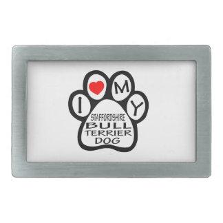 J'aime mon chien de bull-terrier du Staffordshire Boucle De Ceinture Rectangulaire