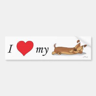 J'aime mon chien de saucisse autocollant pour voiture