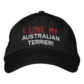 J'aime mon chien de Terrier australien Casquette Brodée