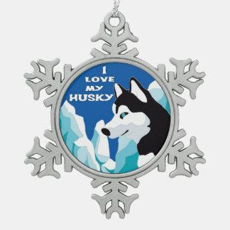 J'aime mon chien de traîneau sibérien ornement flocon de neige pewter