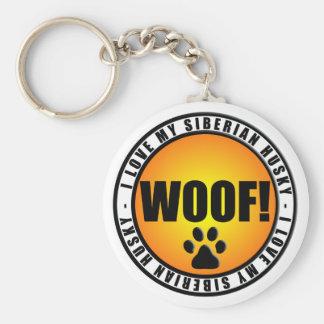 J'aime mon chien de traîneau sibérien ! porte - porte-clé rond
