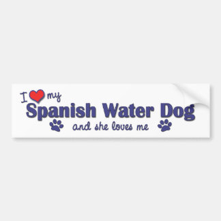 J'aime mon chien d'eau espagnol (le chien femelle) autocollant de voiture