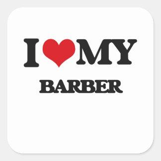 J'aime mon coiffeur stickers carrés